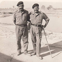Brigadier Hari Singh outside Timmik's Den on 29th Oct 1965 at District Lahore, Pakistan